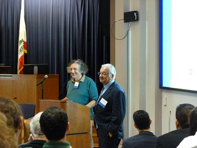 Lunch is finished, and UC Santa Barbara Research Scholar John Perlin (left) describes the history of solar energy...