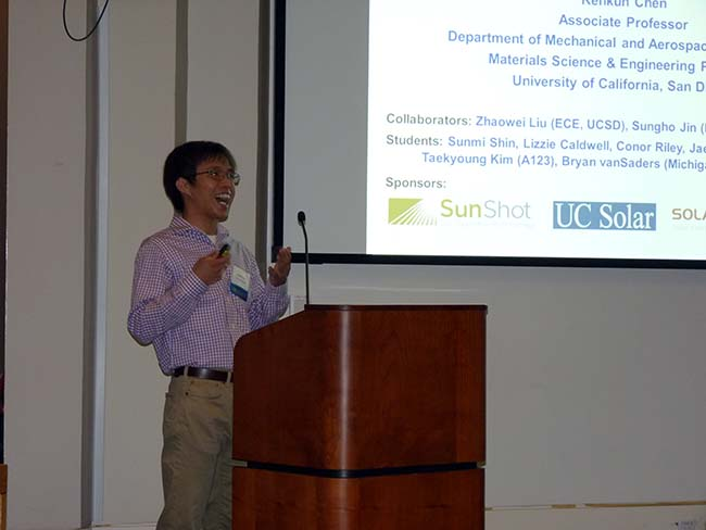 UCSD Associate Professor Renkun Chen closes out the first session by describing his work on high-temperature selective coatings.